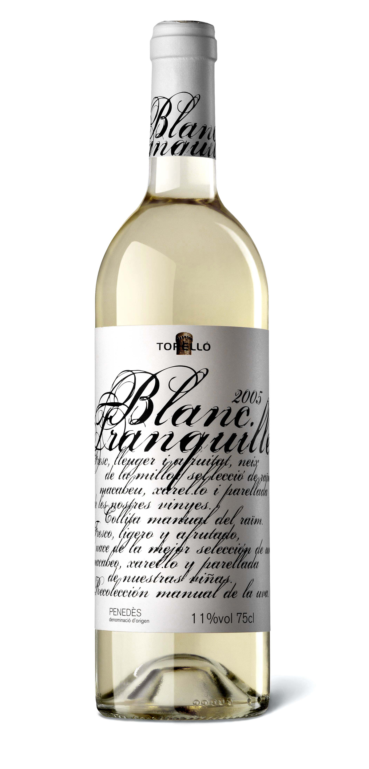 Blanc Tranquille wine bottle design