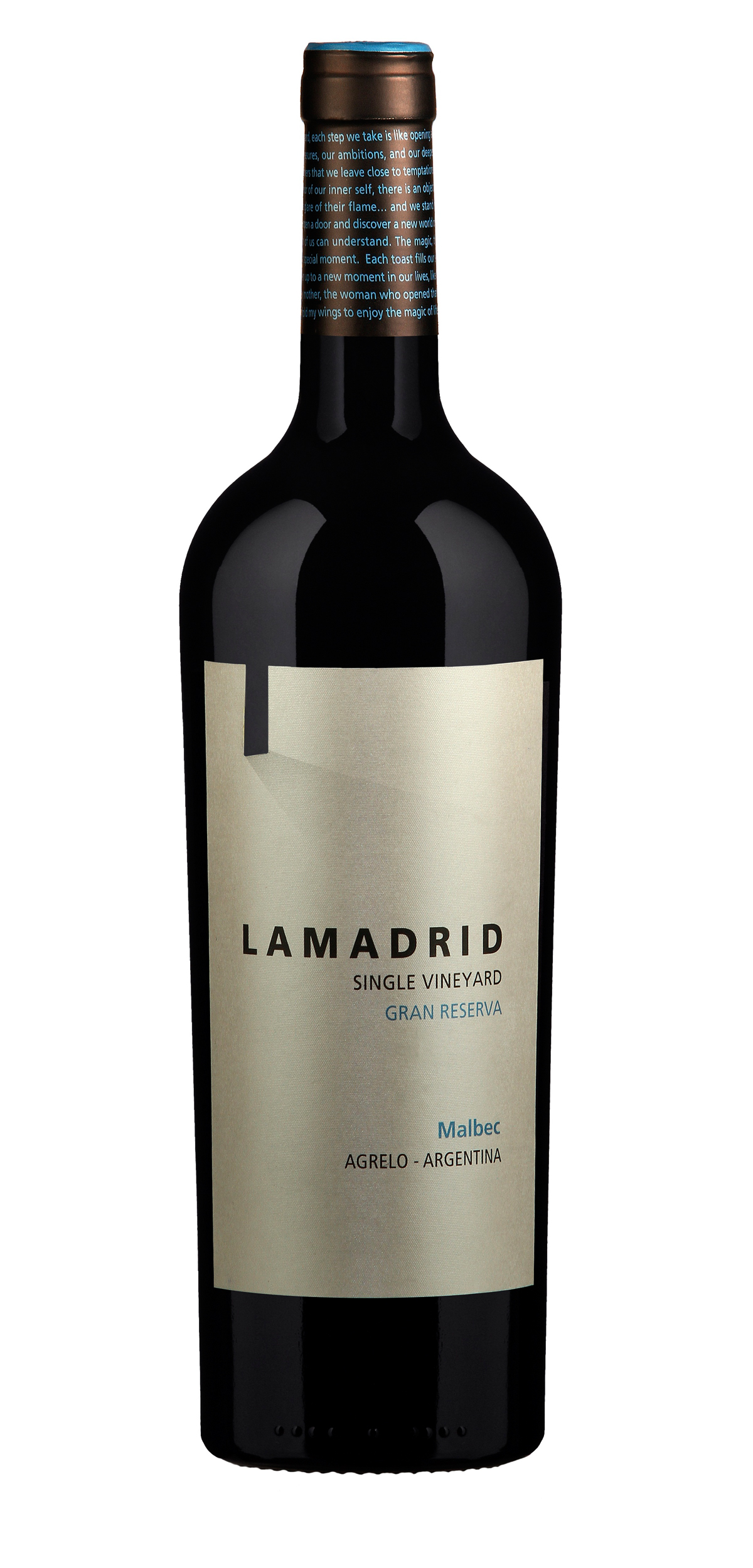 Lamadrid Malbec Gran Reserva wine bottle design