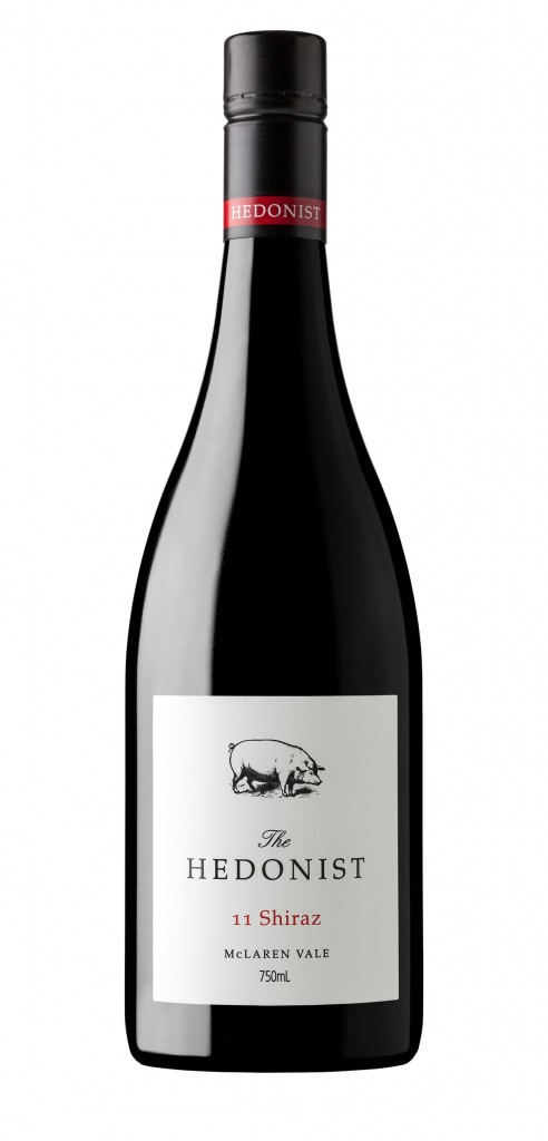 The Hedonist Shiraz wine bottle design