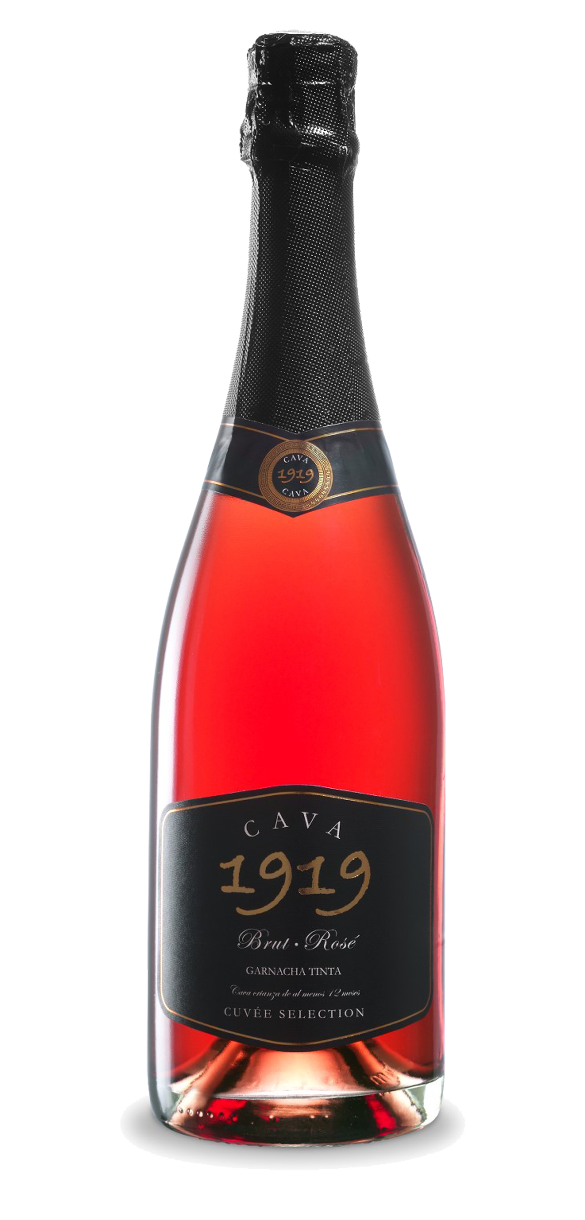 Cava 1919 Brut Rosé wine bottle design