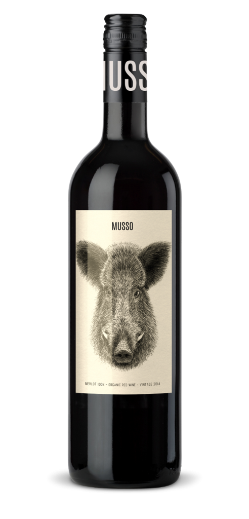 MUSSO Merlot wine bottle design