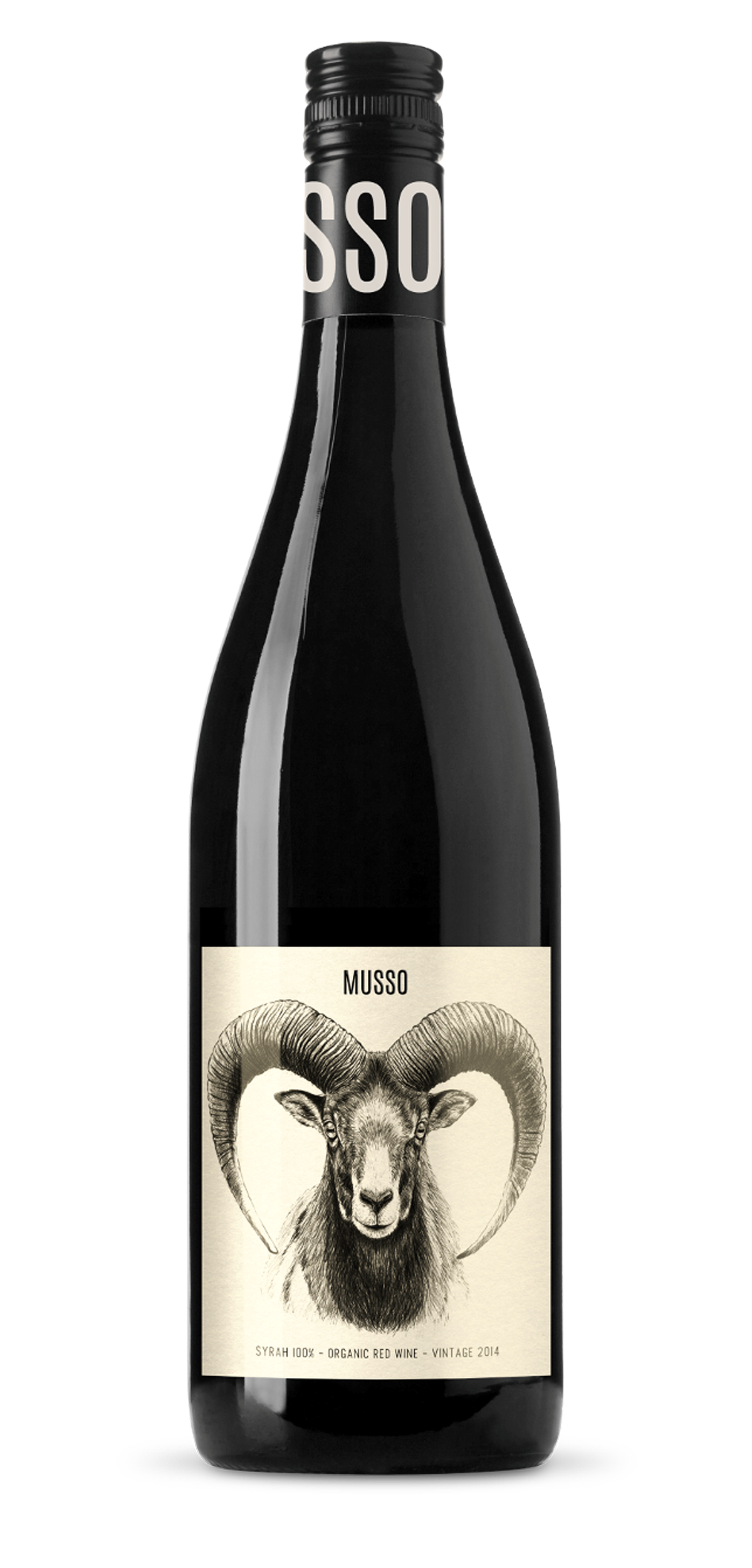 MUSSO Syrah wine bottle design