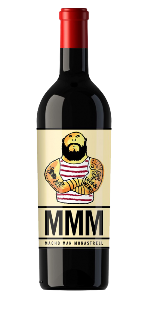 Macho Man Monastrell wine bottle design