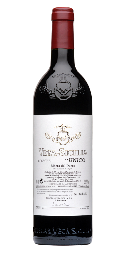 Vega Sicilia Unico Cosecha wine bottle design
