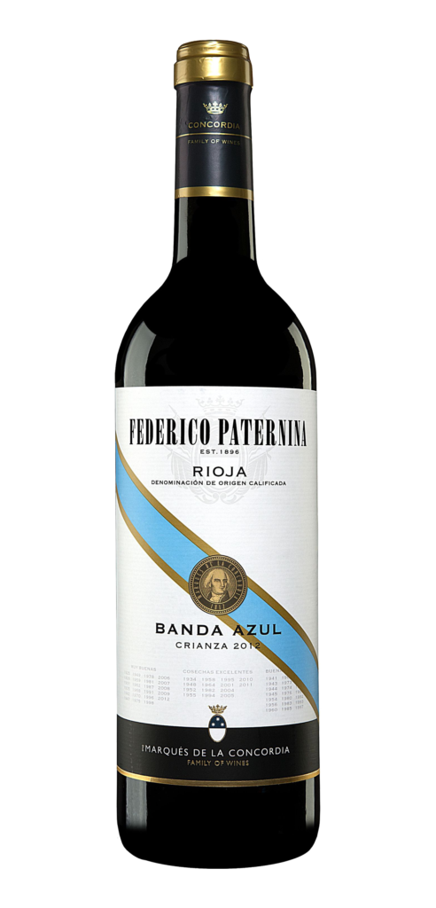 Paternina Banda Azul wine bottle design