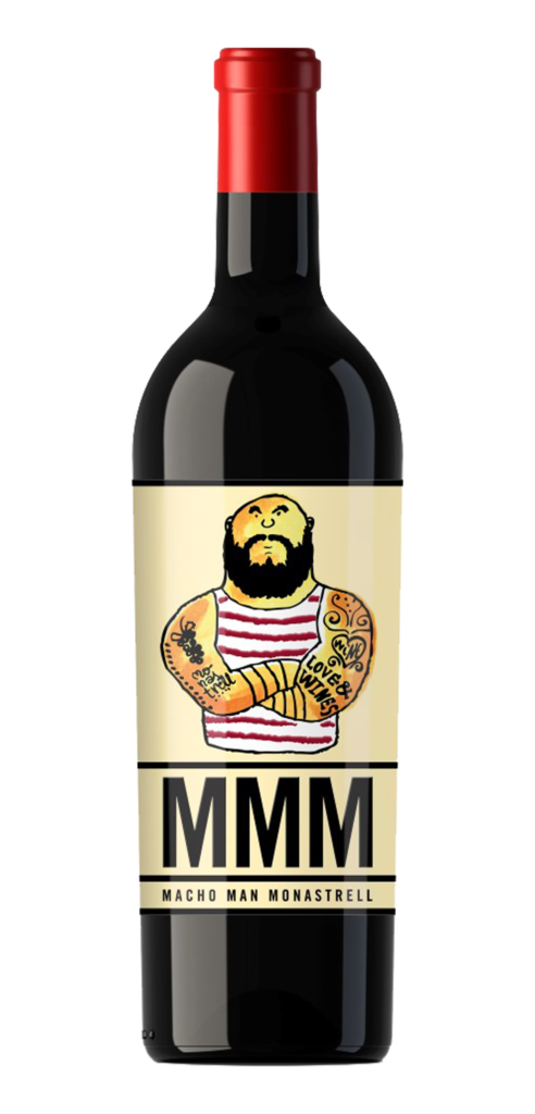 Macho Men Monastrell wine bottle design